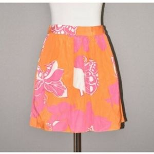 Lilly Pulitzer Floral Butterfly Silk Mini Skirt